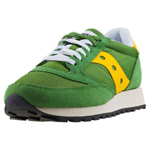 Saucony Jazz Original Vintage Uomo Green Yellow Scarpe 10 UK