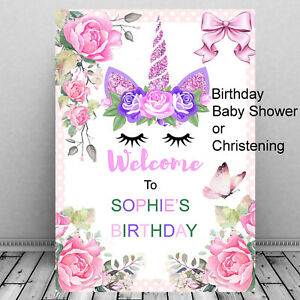 Personalised-Unicorn-Birthday-Welcome-Sign-Baby-Shower-Christening-Party-Girls