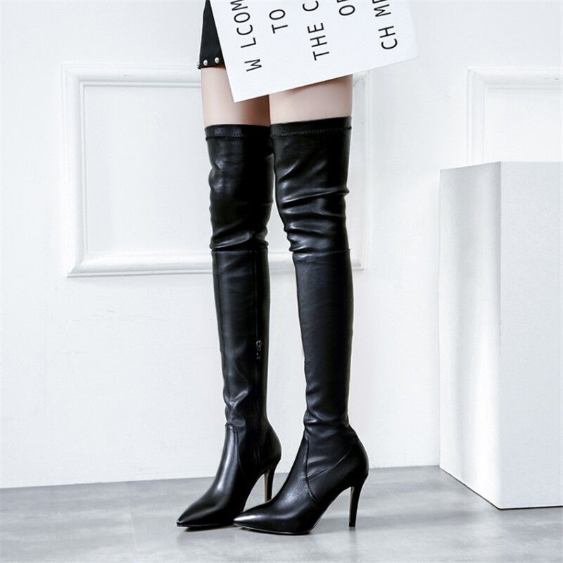 Womens Ladies Sexy Over Knee Boots Stiletto Thigh High Heel Pointy Toe shoes New