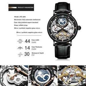Herren-Dual-Time-Leder-Luxus-Skelett-Automatik-Mechanische-Uhr-N9O3