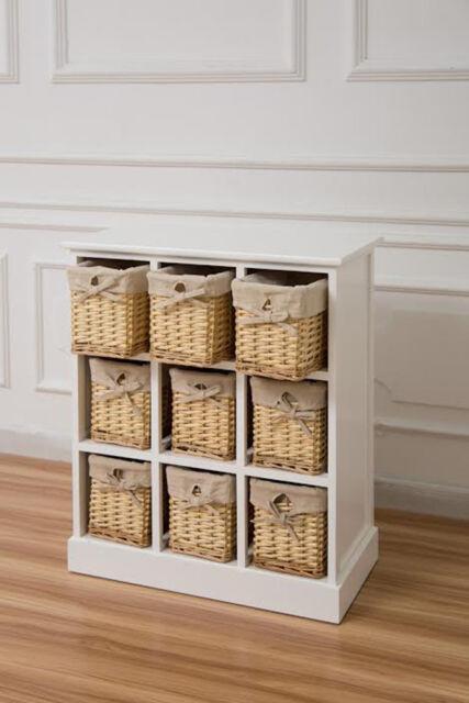 White Nine Drawer Sideboard With Natural Wicker Baskets Hallway Storage