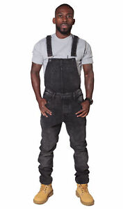 shop for newest top style best authentic Details about Slim Fit Men's Dungarees - Faded Black Denim Overalls for Men  Bib Down Dungarees