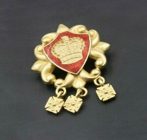 Vintage-signed-AJC-RED-enamel-gold-Fleur-de-Lis-CROWN-PIN-brooch-a14