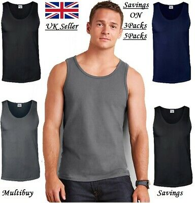 Mens Vest Softstyle Adult Tank Top Mens Sports Cotton Single and Pack of 3 Vest