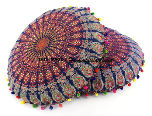 "Floor 32/"" Cover Mandala Pillows Round Meditation Ottoman Cushion Pouf Set Of 2"