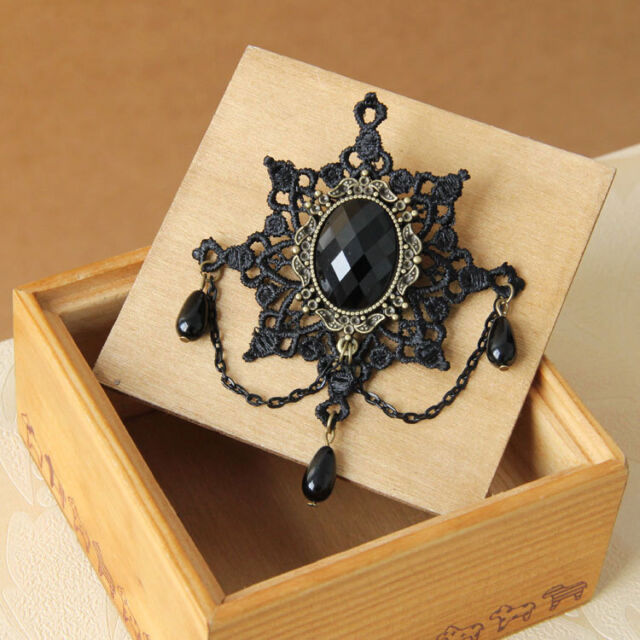 Black Lace Snowflake Stone Alloy Snow Brooch Pin Breastpin Gothic Lady Accessory