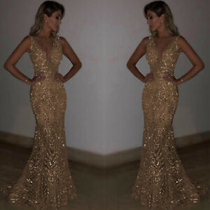 Womens-Long-Evening-Dress-Mermaid-V-Neck-Gold-Sequins-Formal-Party-Wedding-Prom