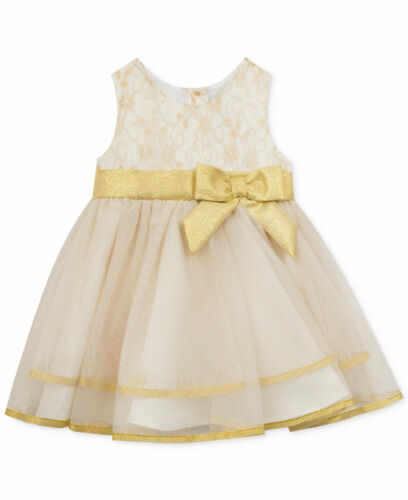 Rare Editions Christmas Holiday Ivory and Gold Ballerina Dress with Gold Sash