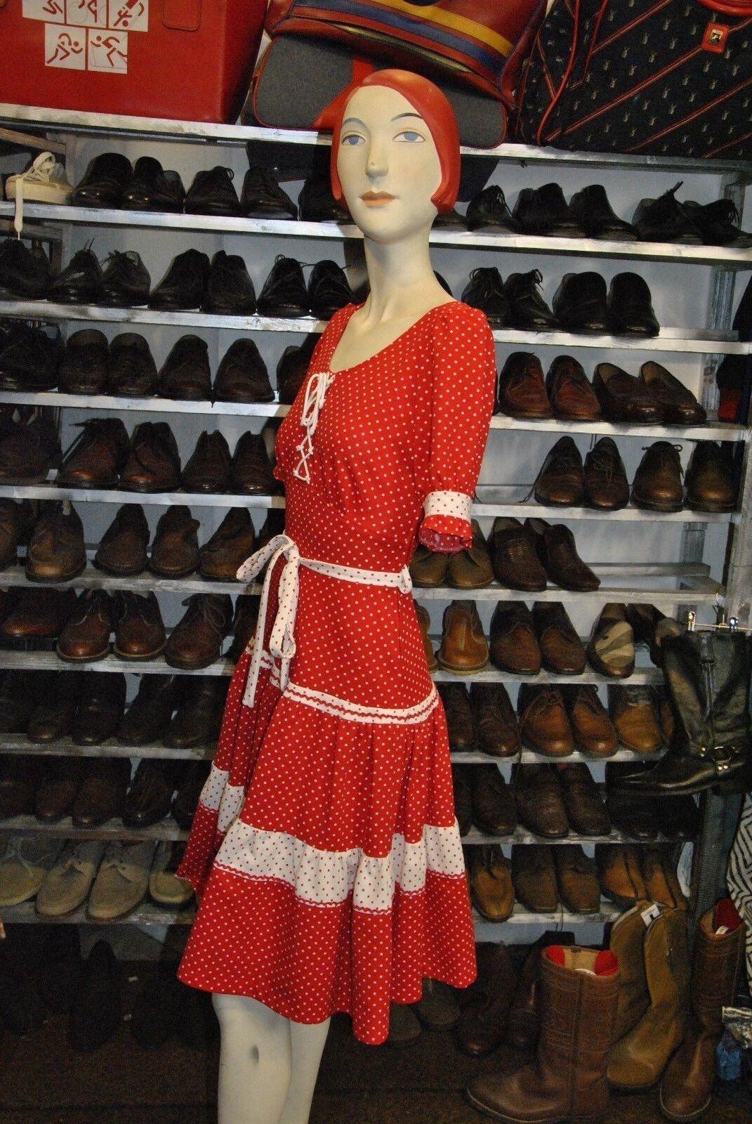 Diolen Kleid 36 rot polka dot gepunktet S TRUE VINTAGE VINTAGE VINTAGE 70s rot dress   Attraktive Mode    Neues Produkt  66eaa5