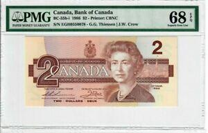 Canada-2-Dollars-Banknote-1986-BC-55b-i-PMG-Superb-GEM-UNC-68-EPQ