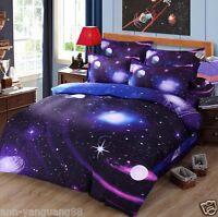 3D Galaxy Bedding Pillowcase Quilt Duvet Cover Set Or Flat Single/Double Size