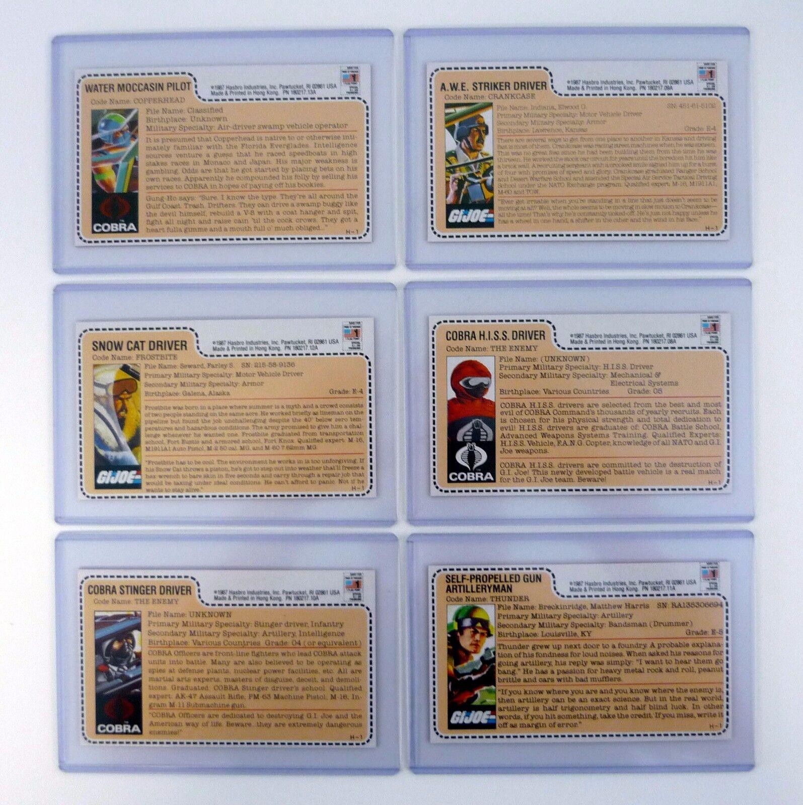 GI JOE SPECIAL MISSION DRIVERS FILE CARD SET Hasbro Direct UNCUT & MINT 1989