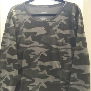 Sonoma-Womens-Shirt-XXL-Long-Sleeve-Gray-Camouflage-New
