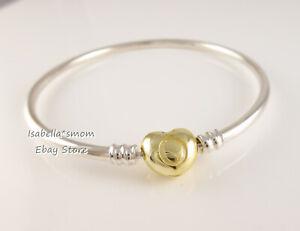Heart Clasp Authentic Pandora Shine Gold Plated Hard Bangle 7 5 19cm 567163 New Ebay