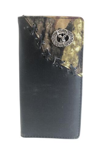 BLACK VEGAN LEATHER CAMO DEER METAL EMBLEM MENS RODEO LONG WALLET WEST WOLF