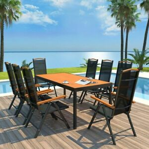 vidaXL-9-Piece-Outdoor-Dining-Set-Aluminum-Brown-Black-Garden-Patio-Table-Seat