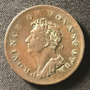 Canada-1823-Half-Penny-Token-Un-Sou-NS-1A4-Breton-867-J-009