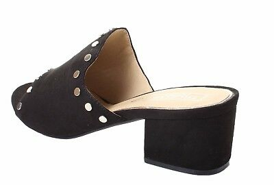 Damen Niedrige Ferse Peep Toe Maultiere Sandalen Rot Schwarz Schuhe Stecken