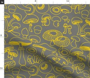 Mod-Mushroom-Gray-Yellow-Whimsical-Magic-Fabric-Printed-by-Spoonflower-BTY