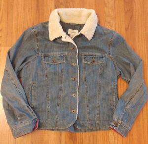 bd7e6f2c5f Womens Denim Jacket LL Bean Sherpa Collar Size Large Reg Trucker Med ...