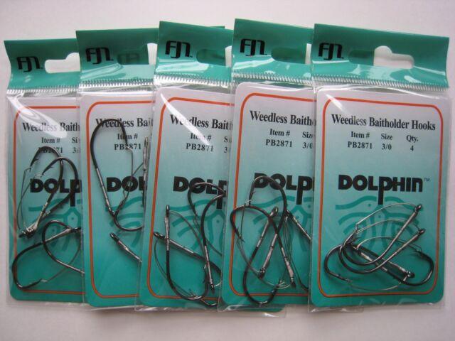 Size 3//0 Weedless Hooks Black Chrome 12 packs Dolphin NEW Highest Quality