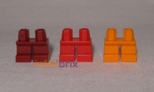 3x Lego Plain Short Legs for Minifigs NEW lot408 Dark Red, Bright Red, Orange