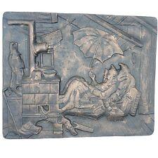 Kaminplatte Wandrelief der arme Poet Gusseisen über 7 Kg ca. 37 x 30 x 1,8 cm