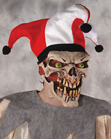 Evil Jester Scary Clown Die Laughing Mask & Hat Halloween Undead Circus