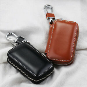 Genuine-Leather-Bag-Key-Chain-Fob-Case-Zipper-Pocket-Coin-Purse-Holder-Charm