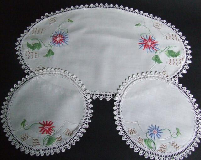 Vintage Hand Embroidered Duchess Doily Set - Red & Blue Florals Crochet Edgings