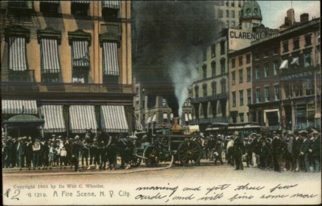 New York City Crowded Street Scene Fire Fighting 1905 Rotograph Postcard