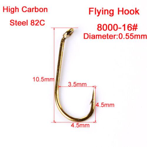 200pcs Angelhaken Fliegenfischerhaken 4 Größen Forellen Fliegen Outdoor