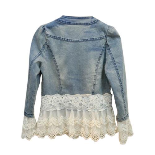 UK Womens Ladies Faded Ripped Lace Denim Jacket Slim Jeans Coat Plus Size 8-22