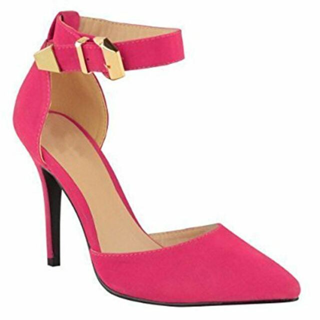 e259811b68c1 Womens Stiletto Heel Buckled Ankle Strap Pointed Toe Suede-pu Court ...