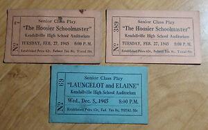 LOT-OF-3-1945-INDIANA-HOOSIER-SENIOR-CLASS-PLAYS-TICKETS-LAUNCELOT-ELAINE