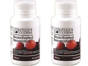 2-x-60-capsules-NATURES-GOODNESS-Australia-Bioactivated-Resveratrol-500mg-120