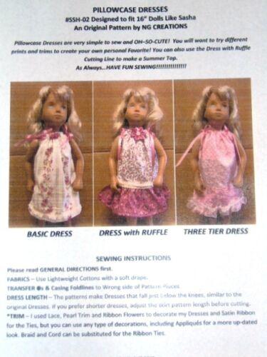 """NG Creations Sewing Pattern #2 fits 16/"""" Sasha Doll Makes 3 Pillowcase Dresses"""