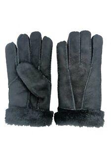 Women-039-s-Genuine-Sheepskin-Black-Suede-Warm-Leather-Shearling-Fur-Gloves