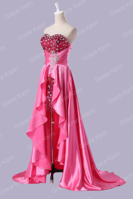 Luxury!!Layer Ruffles Bridesmaid Prom Strapless High Low Party Birthday Dresses