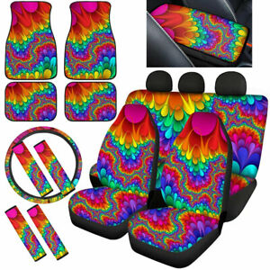 Fashion Tie Dye Car Seat Covers Combo Set Floor Mats Steering Wheel,Armrest Pads