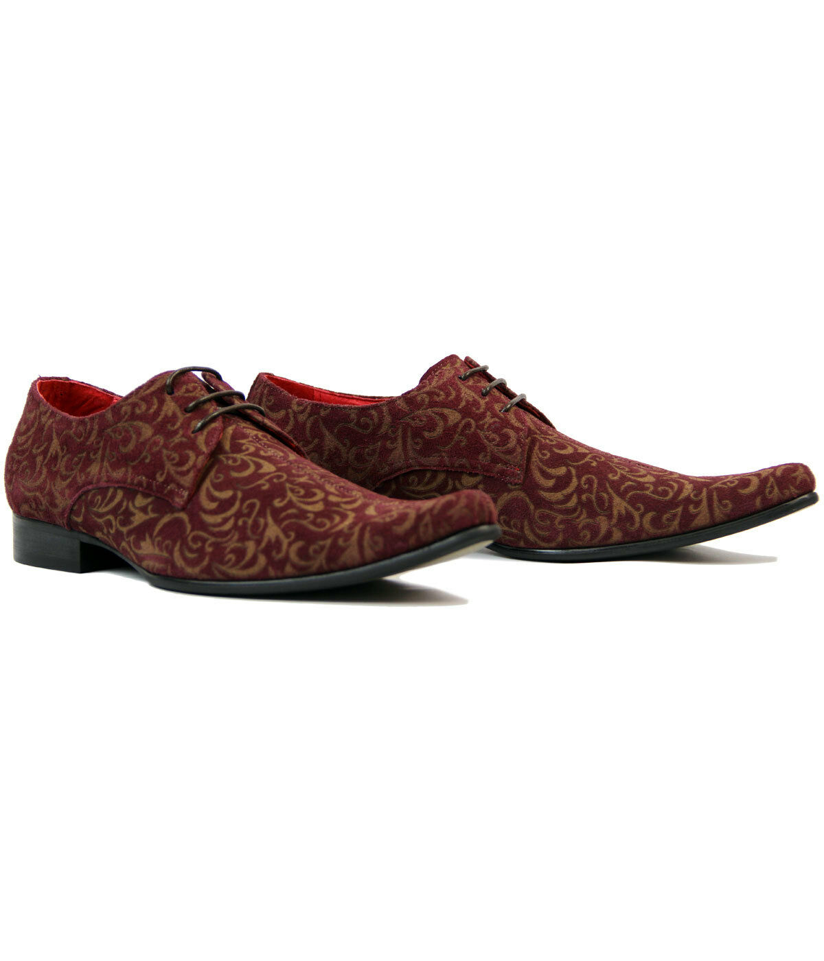 NEW MADCAP MOD SUEDE RETRO MOD SIXTIES PAISLEY SUEDE MOD SHOES Winklepickers 60s JAG WINE 0bbe3b