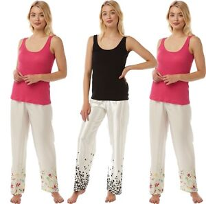 womens-LADIES-pyjamas-set-summer-sleeveless-vest-cotton-top-amp-satin-lounge-pant