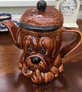 Vintage-1960s-Tea-Pot-Droopy-Dog-Retro-Price-Kensington-Tea-Pot-Brown-Glazed