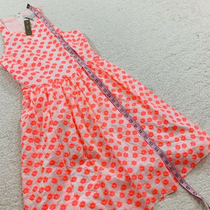 J CREW CREW CREW Neon Pink White Floral Embroidered Cotton Full Skirt Dress sz 2 A5586 95b352