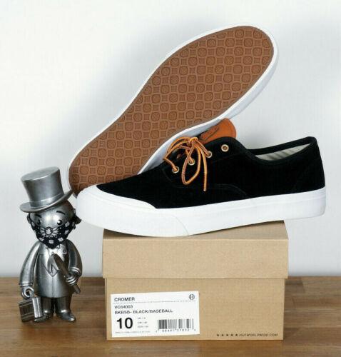 HUF worldwide Footwear skate zapatos Shoes Cromer Black béisbol Suede 11,5/45