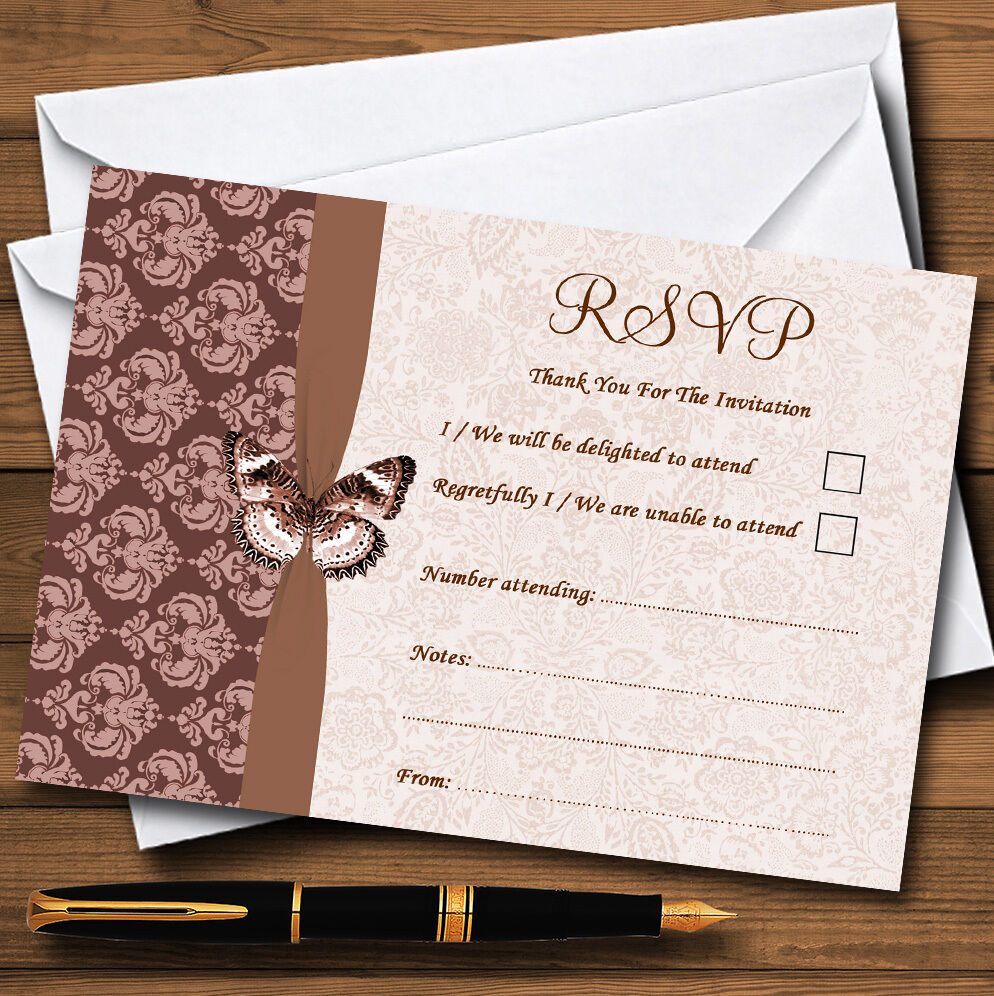 braun Fawn Beige Vintage Floral Damask Butterfly Personalised RSVP Cards