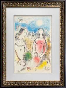 Marc-CHAGALL-Color-Lithograph-LIMITED-Ed-034-Le-couple-034-Arches-w-Custom-FRAME