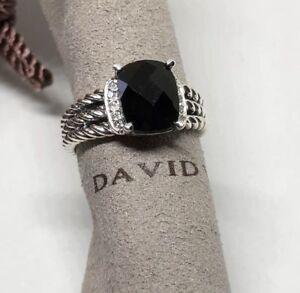David-Yurman-Sterling-Silver-Petite-Black-Onyx-Wheaton-Ring-Size-7