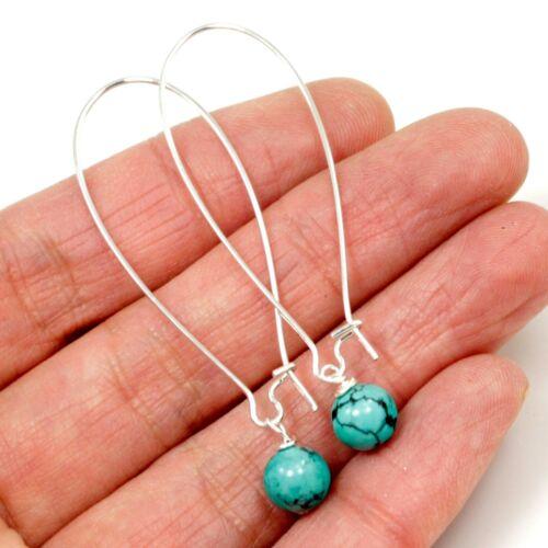 Blue Turquoise Earrings Round Bead Kidney Wire Earrings Kingman Healing Gemstone