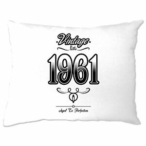60th Birthday Cushion Cover Vintage 1961 Aged To Perfection Sixtieth Gift Idea